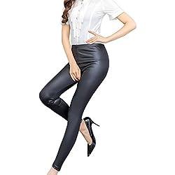OULII PU Leggins Cuero Skinny Elásticos Pantalones de Verano Primavera para Mujeres Tamaño L (Negro)