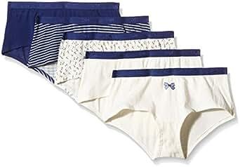 Dim - Pockets Coton - Boxer - Quotidien - Lot de 5 - Femme - Bleu (Lot Marine Noeud Ancres) - FR : 36 (Taille fabricant : 36/38)