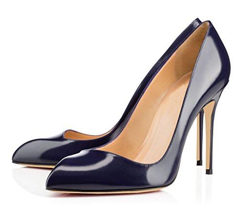 EDEFS Damen Pumps High Heels Spitze Zehen Stiletto Geschlossene Übergröße Schuhe Navy