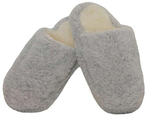 SamWo Chauffe-reins, doux, confortable, look Pantoufles/Unisexe Semelle Anti-Dérapante en laine de mouton, 100% laine de mouton, gris clair, Taille: 35–48 Gris - Gris clair