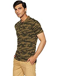People Men's Printed Regular Fit Polo