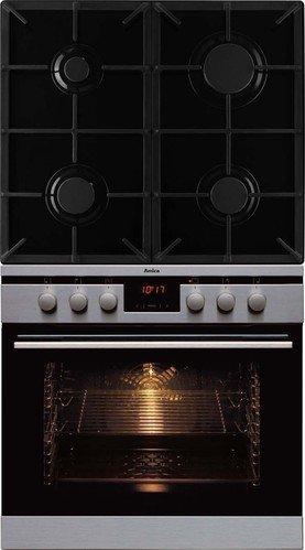 Amica EHEG 12521 E Backofen-Kochfeld-Kombination/A / 0.95 kWh / 66 Liter/Steam Clean Reinigungsfunktion durch Wasserdampf/RapidWarmUp Schnellaufheizung/edelstahl