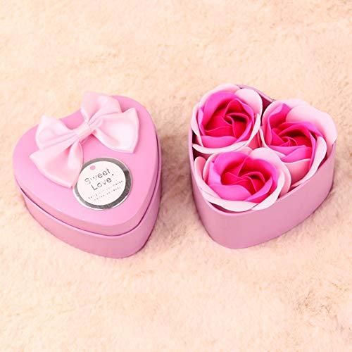 Sen-Sen Mädchen schöne Neuheit Rose Soap Romance Flower Bear herzförmige Box Forever Pink -