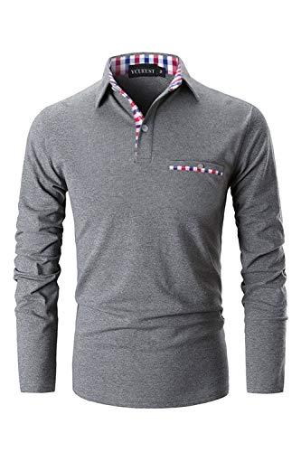 c9478f474229 YCUEUST Herren Langarm Poloshirt Polohemd Polo Shirts mit Kariert  Polokragen (Medium, New Grau)