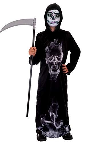 Magicoo Gespenst Skelett Kostüm Kinder Jungen schwarz inkl. Robe & Kapuze - Gr 110 bis 140 - Halloween Dämon Skelett-Kostüm Kind (134/140) -