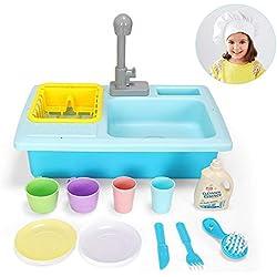 Luerme Enfants Simulation Cuisine Jouer Piscine D'eau Petite Mâle Fille Puzzle Evier Lave-Vaisselle Ensemble Play House Jouets Pour Garçons Filles