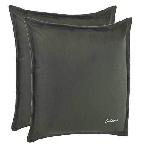 Outdoor Kissen Dekokissen - Schmutz- und Wasserabweisend mit Reißverschluss 2 cm Steg - 350 gr. Füllung - Größe: 48 x 48 cm - Farbe: Dunkelgrau - 2er Vorteilspack von Brandsseller