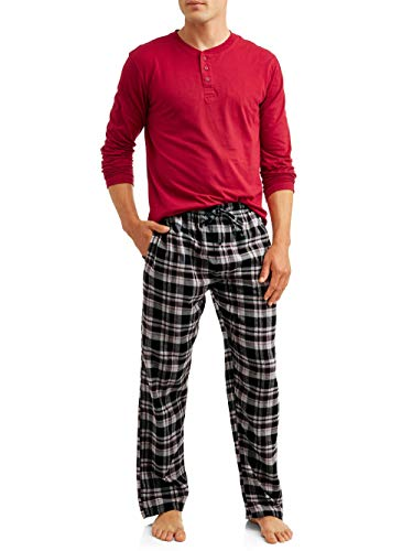 Hanes Men's Pajamas EcoSmart Flannel Plaid Pants Sleep Set Super Comfy PJ's for Adult Men -