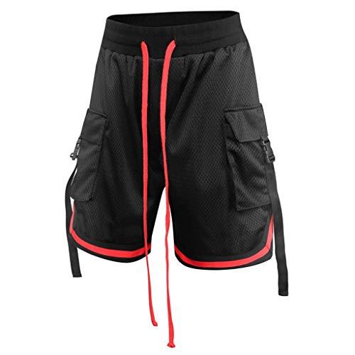 Geilisungren Herren Sport Shorts Atmungsaktiv Mesh Bandage Kurze Fitness Training Jogginghose Laufhose Sommer Schnelltrocknend 1/2 Hosen mit Taschen und Tunnelzug