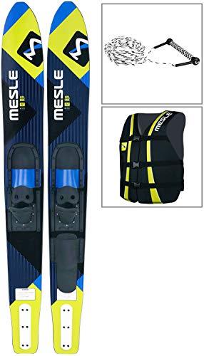 MESLE Combo-Ski Package XPlore 157 cm mit Weste Sportsman + Leine Combo, Wasserski für Jugendliche und Erwachsene, blau-Lime