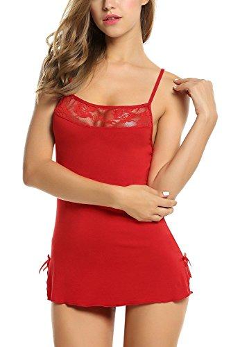Avidlove Sexy kurz Nachthemd Negligees Nachtwäsche Babydoll Lingerie Träger Kleid Dessous mit G String und Spitze Dekoration für Damen