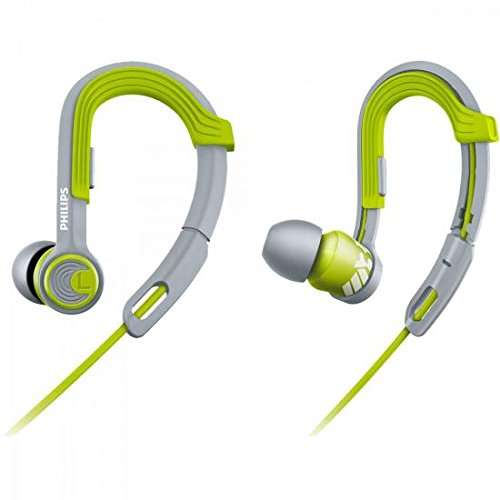 Philips SHQ3300LF/00 ActionFit Sportkopfhörer (wasserfest, Kabel-Clip und Aufbewahrungstasche) Ear-Clip grau/grün