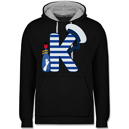 Anfangsbuchstaben - K Schifffahrt - Kontrast Hoodie Schwarz/Grau Meliert