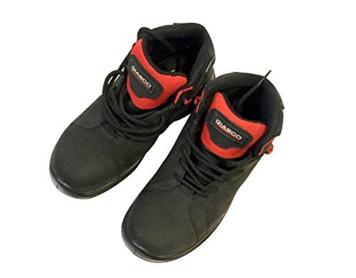 Sicherheitsschuhe Modell Giasco Basketball, Narbenleder Nubuk IDROTECH WRU. Futter-Gewebe atmungsaktiv und abriebfest. Schuhe mit Gewebeeinlage reflektierend. Schwarz