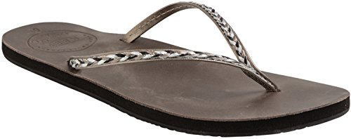 Reef Leather Uptown Braid, Tongs Femme gris - Gris (Gunmetal)