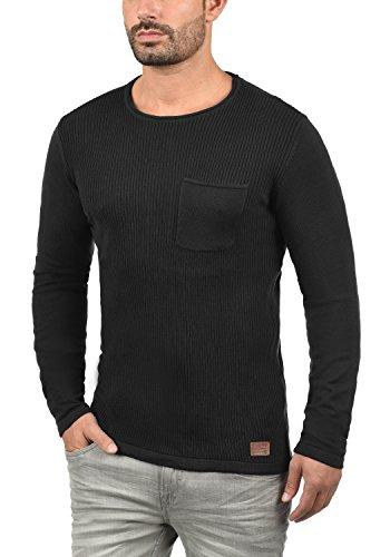 BLEND Rufus Herren Strickpullover Feinstrick-Pulli mit Rundhals-Ausschnitt und Brusttasche aus hochwertiger Baumwollmischung Black (70155)