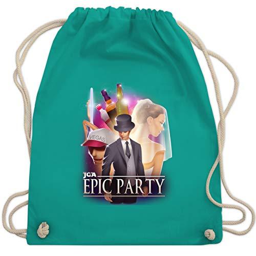 JGA Junggesellenabschied - JGA Epic Party Filmposter - Unisize - Türkis - WM110 - Turnbeutel & Gym (Vegas Themen Kostüm Party)