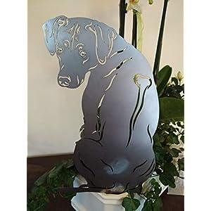 Gartenstecker Figur Rhodesian Ridgeback Hund RR Höhe ca. 40 cm Metall Rost Garten