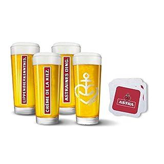 Astra Bier Herzanker Gläser-Special, 3 Limitierte Gläser 0,3 Liter und 100 Bierdeckel