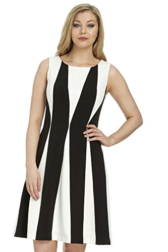 Roman Originals Women's Contrast Colour Block Panel Skater Jersey Dress - Ladies Wedding Mother of The Bride Groom Dresses - Black & White
