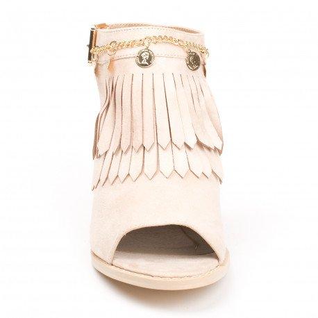 Ideal Shoes - Bottines à franges peep toe ouvertes à l'arrière effet daim Balia Rose