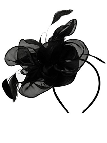 Fascinators Hut Blume Mesh Bänder Federn auf einem Stirnband und einem geteilten Clip Cocktail Tea Party Headwear für Mädchen und Frauen (1920er Flapper-hut Jahren)