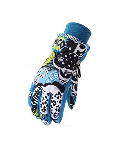 DULEE 7-10 Jahre Unisex Kinder Winter Fleece Thermo Handschuh Ourdoor winddicht und wasserdicht Ski Handschuhe Reithandschuhe Sport Fäustlinge, blau M