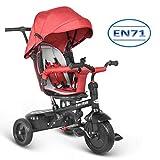 besrey Dreirad 7 in 1 Kinderdreirad Kinder Dreirad mit drehbarem Sitz lenkbarer Schubstange Sonnendach ab 6 Monate bis 6 Jahre mit Regenschutz - rot