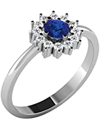 His & Her 18KT White Gold, Diamond And Blue Sapphire Ring For Women