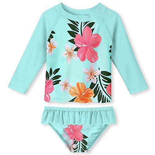 Blume 2 Stück Badeanzug (Funnycokid Mädchen Blume 2 Stück Badeanzug Kinder Nette Bunte Badeanzug Badeanzug Alter 2-6 Jahre)