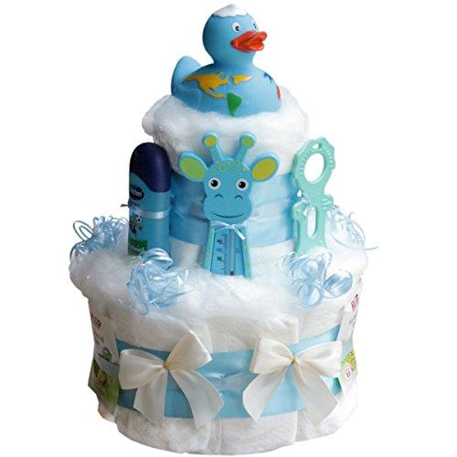 """Windeltorte Badeentchen """"Hugo"""" Geschenk zur Taufe oder Geburt Geschenkfertig in Folie verpackt. Auf Wunsch mit kostenlosen Grußkärtchen und Wunschtext"""