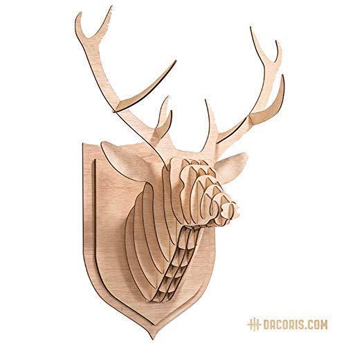 Dacoris Lars, das Hirsch | Holz | Hirschkopf | DIY 3D Wandbill | Tierkopf | Kopfskulpturen | Trophäe | Wanddeko | Wandskulpturen (M)