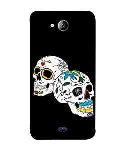 PrintVisa Designer Back Case Cover for Micromax Canvas Play Q355 (Skulls In White And Floral Design)