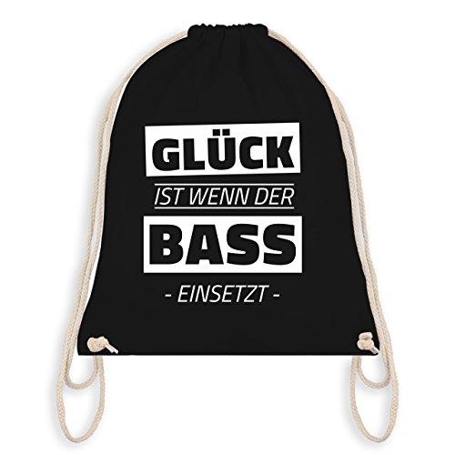 Damen Jute (Techno & House - Glück ist wenn der Bass einsetzt - Unisize - Schwarz - WM110 - Turnbeutel I Gym Bag)