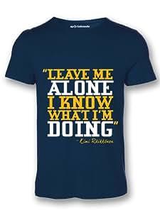 Sportskeeda Men's F1 Kimi Raikkonen Leave Me Alone Formula 1 Cotton Round Neck Navy Blue T-Shirt - XXL