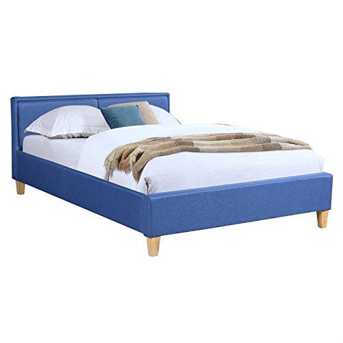 CARO-Möbel Polsterbett Anais Doppelbett 140x200 cm Designbett Bettgestell inklusive Lattenrost, Stoffbezug in blau