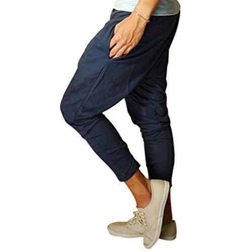 Minetom Homme Casual Poches taille élastique Slant Pantalon de sport Hiphop Baggy Jogging Sarouel Pantalon Bleu
