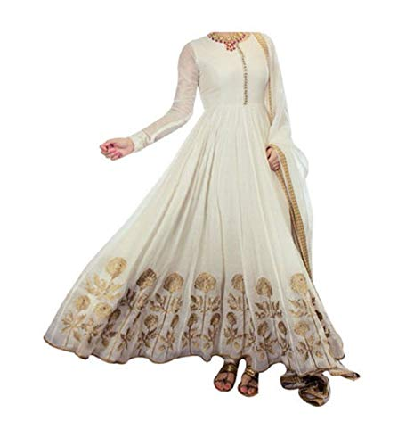 Ustaad women's Beautiful Semi-stitched Georgette Anarkali Salwar Suit (white)