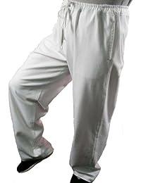 Maßgeschneiderte Weiße Tai Chi Hosen Handgefertigt aus Premium Leinen #104