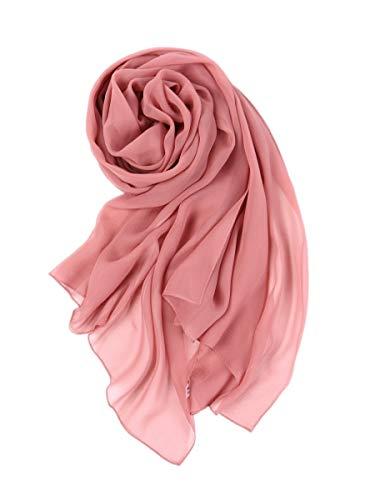 prettystern - 176cm Uni-farbe Leicht Seidenstola Crepe Georgette Schal Rosa Ash-Rose