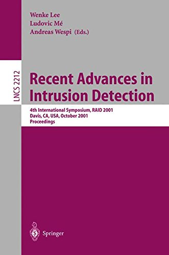 Recent Advances in Intrusion Detection: 4th International Symposium, RAID 2001 Davis, CA, USA, October 10-12, 2001 Proceedings (Lecture Notes in Computer Science)