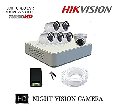 Hikvision 8 Channel Full HD DVR Kit with 6 CCTV Camera (White)