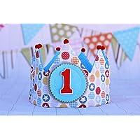 Corona de tela para cumpleaños bebé, corona unisex, regalo de cumpleaños, adorno de fiesta