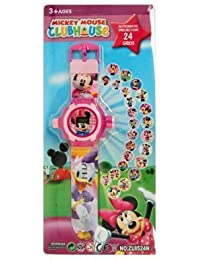 Shanti Enterprises Combo Sports Watch Multi Color Dial For Kids And Mickey Mouse 24 Images Projector Watch