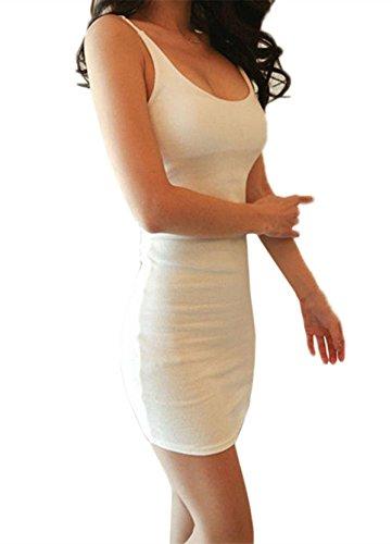 ZANZEA Sexy Femme Pure Couleur Tank Bodycon Débardeur Sans Manche Club Partie Robe Blanc