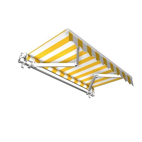 jarolift Gelenkarmmarkise Basic Markise mit Volant für Terrasse Garten Balkon, 250 x 150 cm (Breite x Ausfall), Stoff gelb/Weiss Blockstreifen