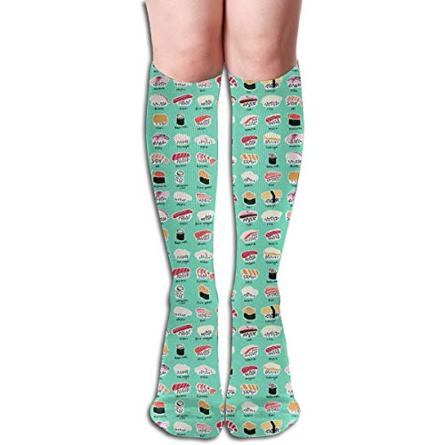 Women's Fancy Design Stocking Sushi Chart Wasabi Multi Colorful Patterned Knee High Socks 19.6 Inchs (Fahrer Mutterschaft)