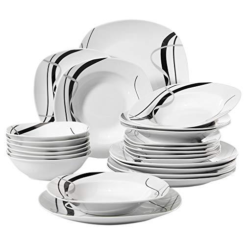 VEWEET Tafelservice 'Fiona' aus Porzellan 24 teilig | Geschirrset beinhatlet Müslischalen, Dessertteller, Speiseteller und Suppenteller| Geschirrservice für 6 Personen