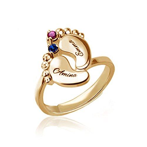 Yanday Personalisierte Namensring Geschenke Baby-Fuß-Namen u. Birthstone-Ringe(18 Karat (750) Rotgold einstellbar)