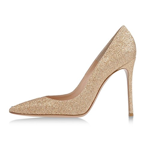 EDEFS - Escarpins Vernis Femme - Chaussures à Talons Hauts Aiguille - Bout Pointu PU Cuir - Fete Soiree Grande Taille Glitter